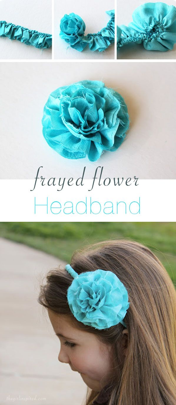 Plastic headbands for crafts - Frayed Flower Headband This Style Fabric Flower Would Be Cute On A Headband Or As