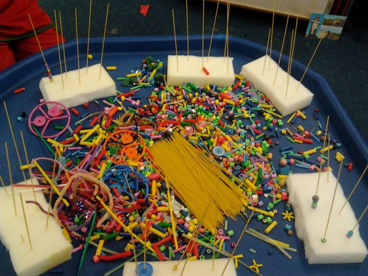 Foam bricks, spaghetti and beads ....invitation to play