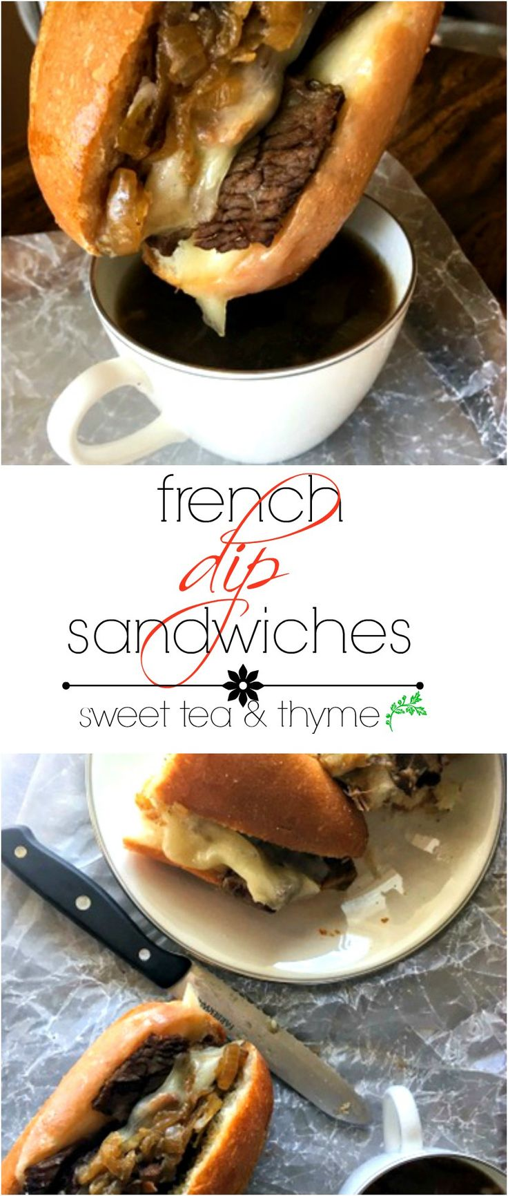 Delicious French dip sandwiches! Beef topped with melty cheese and onions dripping in flavorful au jus, it's the best thing to happen to chuck since pot roast. www.sweetteaandthyme.com