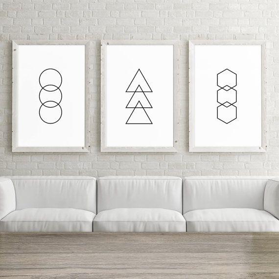 Set of 3 large printable art 24x36 posters circle triangle hexagon set of 3 wall art prints geometric minimalist black and white art