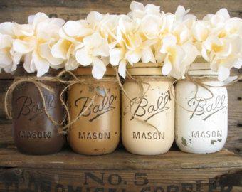 ON SALE NOW Set Of 3 Mason Jars Painted Mason by PaintedMasonJar