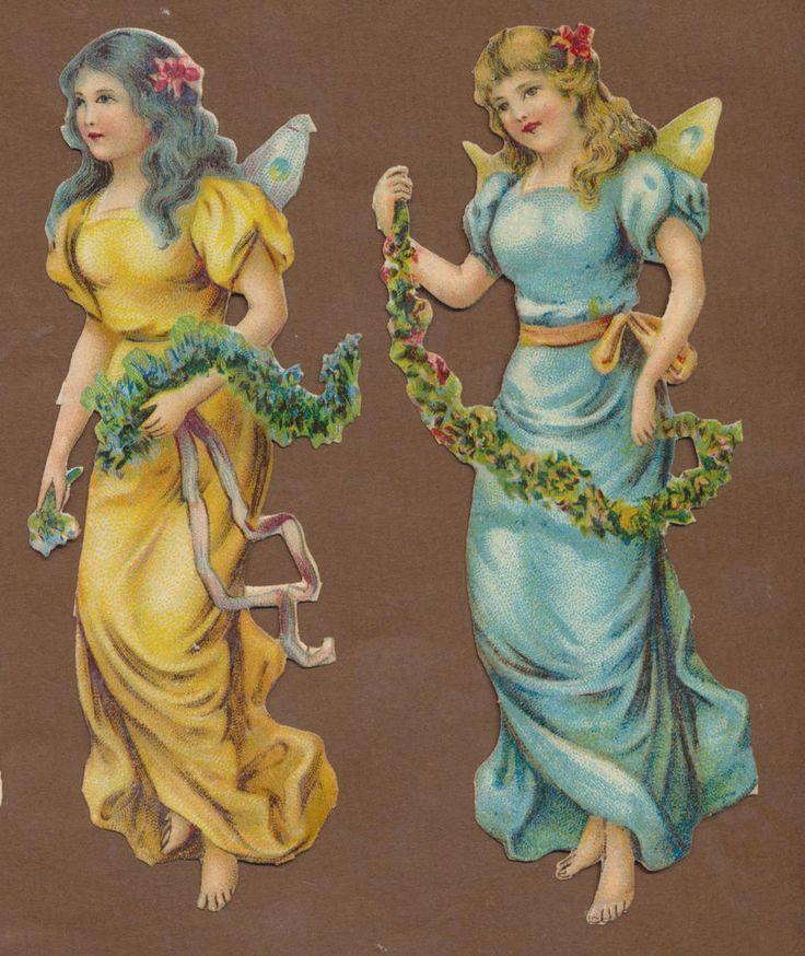 S10315 Victorian Die Cut Scraps: 2 Large Fairies