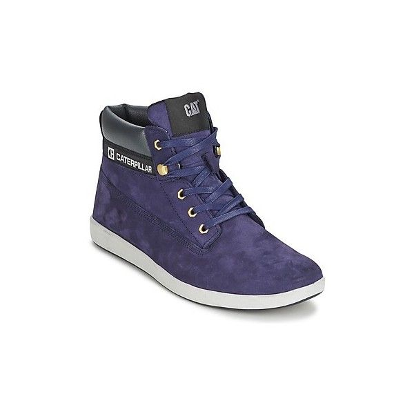 Caterpillar POE Shoes ($73) ❤ liked on Polyvore featuring men's fashion, men's shoes, men's sneakers, blue, caterpillar mens shoes, mens blue shoes, mens blue sneakers, mens high top shoes and mens high top sneakers