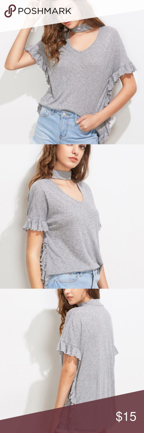 NWOT Gray Choker neckline batwing T-shirt Very cute casual top. Should fit anywhere from a 0-4 because it can be worn baggy or fitted. Can easily be dressed up or dressed down. Offers welcomed. *** pairs well with my NWT Zara high rise stripe denimwear/ Banana Republic windowpane Ryan pants/ NWT faux leather skirt boutique Tops Tees - Short Sleeve