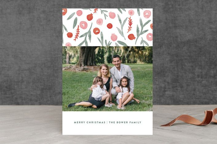 """Holiday Forage"" - Christmas Photo Cards in Berry Red by Oscar & Emma."