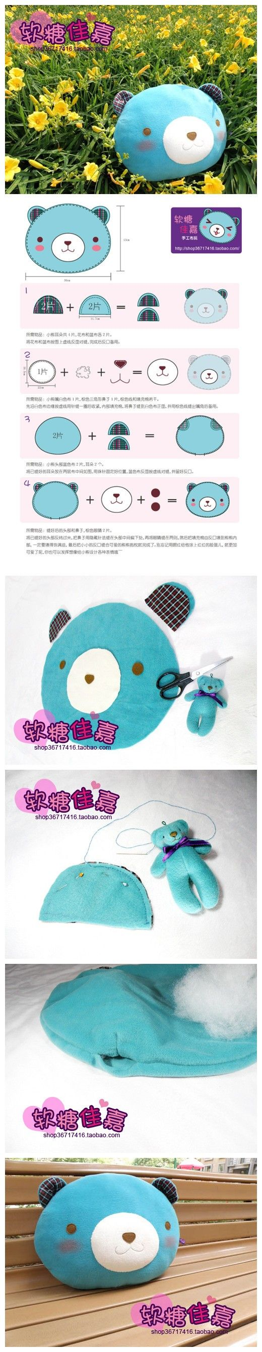 super kawaii diy bear pillow tutorial from japan