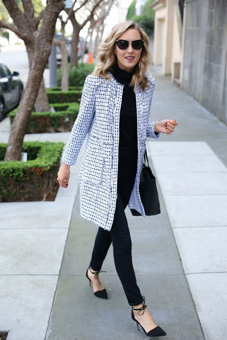 statement coat with black outfit
