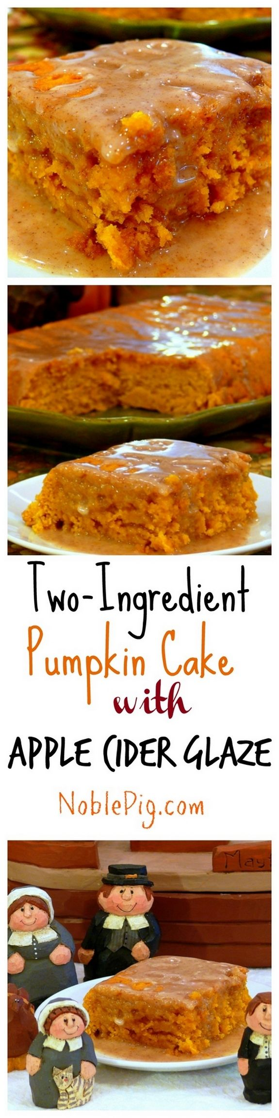 Two Ingredient Pumpkin Cake with Apple Cider Glaze Collage