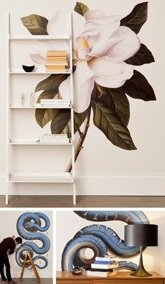 Ladder shelf and artwall 45 Smart Creative and Beautiful DIY Wall Art Ideas For Your Home