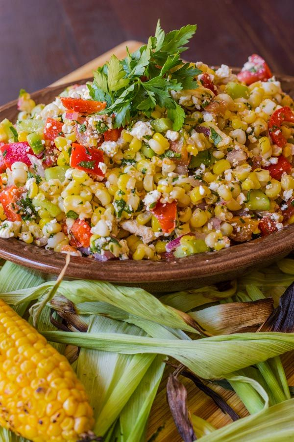 Summer Corn Salad with Cucumber, Peppers and Feta( or use reggiano parmesan, goat crumbles or bleu cheese if you don't like feta)