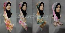 Beautiful Muslim Women Print Flower Long Scarf Hijab Islamic Shawls 160cm*50cm