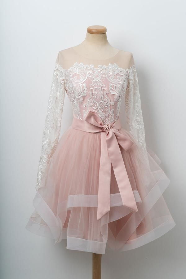 30b9d6b37e8 Pink round neck tulle lace short prom dress