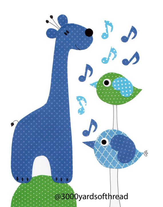 1628 Blue and Green Music Note Elephant Musical Nursery Artwork Print Baby Room Decoration Kids Room Decor  music note art wall numbers