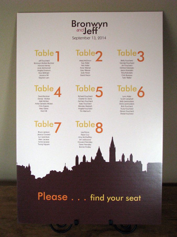 Ottawa Skyline seating chart is part of our Ottawa Skyline suite. If your reception is taking place in Canada's capital, our Ottawa Skyline Seating Chart will help your guests find their way.