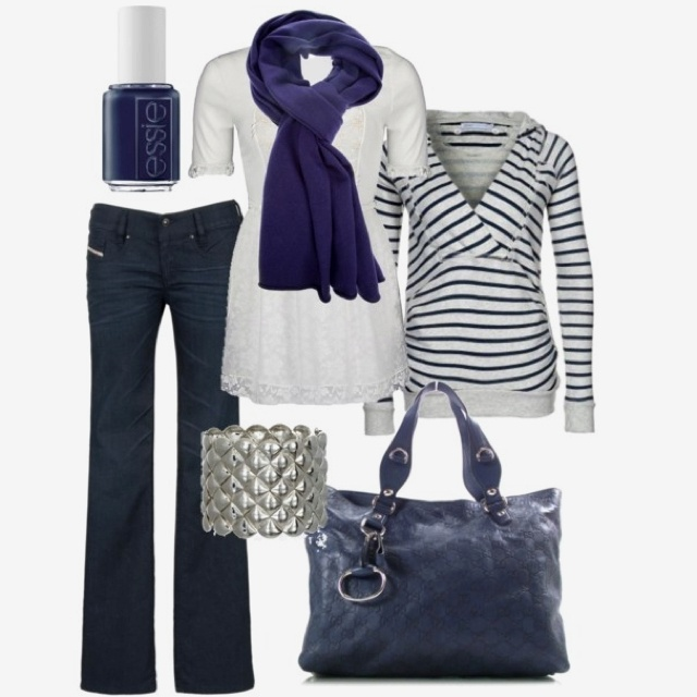 navy stripes and scarf. casual clothes