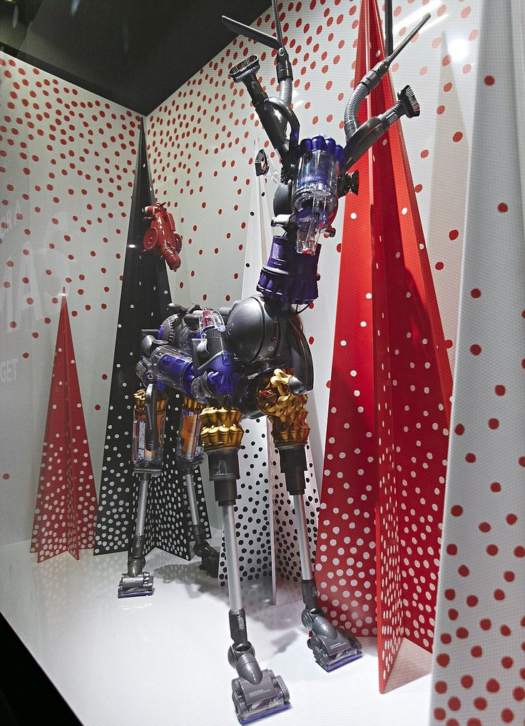 Quirky: The star of the John Lewis window display is a hoover-inspired reindeer!