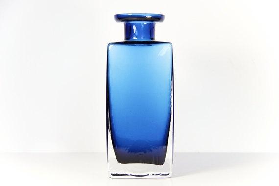 Vintage Glass Vase Blue Clear Square  Gralglas, Durnau, Germany 1972