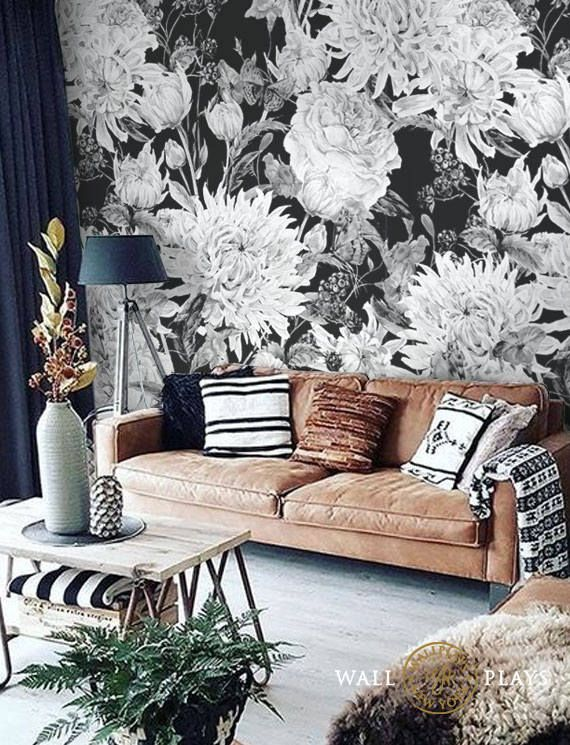 Watercolor Black And White Flowers Mural Removable Wallpaper Etsy White Flower Wallpaper Floral Wallpaper Textured Wallpaper