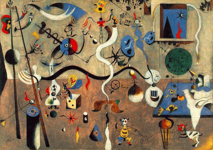 O Carnaval de Arlequim, Joan Miró - 1925. O pintor fala da natureza infantil. Ele procura retratar a natureza como faria o homem primitivo ou uma criança, que tivesse, no entanto, a inteligência de um homem maduro do séc XX.