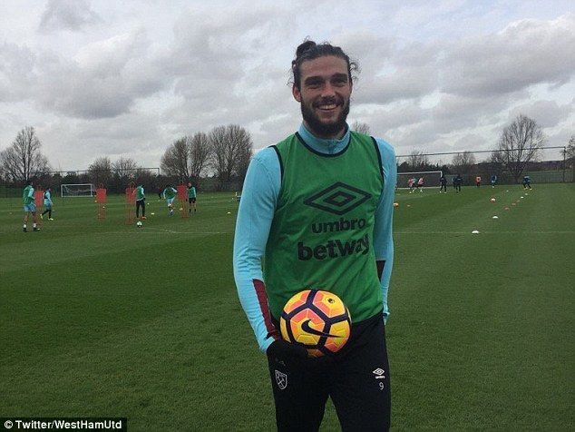 Andy Carroll is back in training with West Ham ahead of their next game against Chelsea