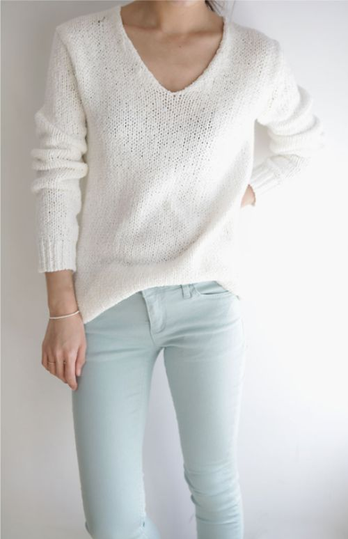 cropped skinny jeans, flats, and a comfy sweater- perfect for cooler spring days