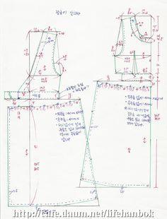장금이 앞치마 제도 - 여자생활한복만들기 - 맨드리생활한복