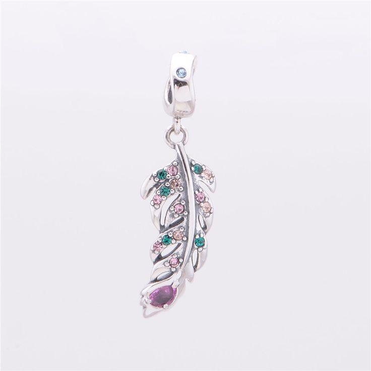 Kristall engel feder anhänger perlen passen pandora charms armbänder frauen diy sterling-silber-schmuck feine bijouterie machen geschenke