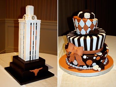 Fabulous UT-inspired bride and groom's cakes, made by Coco Paloma Desserts.