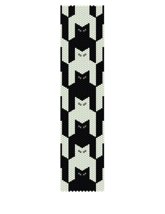 Peyote Bracelet Pattern Black and White Cats Buy 2 by KFSDesigns, $6.50