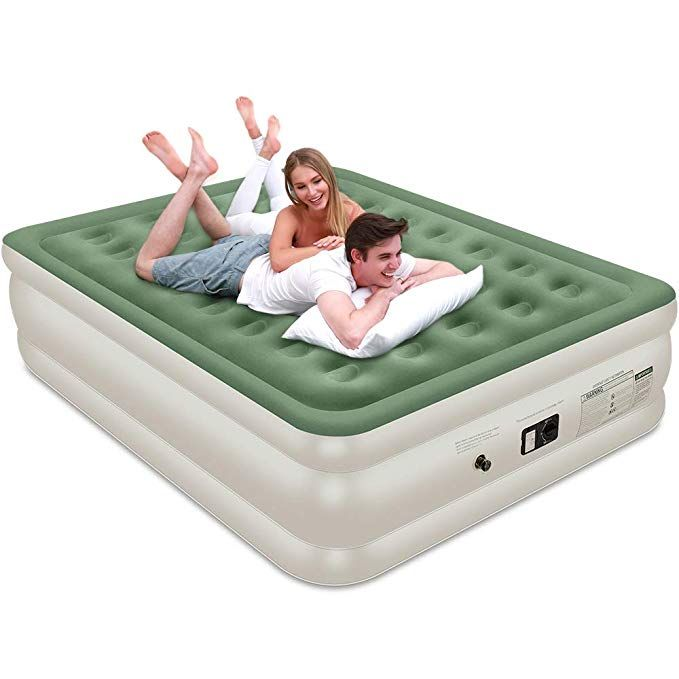 Veken Queen Air Mattress With Built In Pump Inflatable 18double Height Elevated Airbed With Flocked Top Best Air Mattress For G Air Mattress Air Bed Mattress
