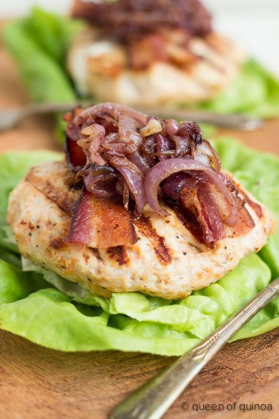 Goat Cheese Stuffed Turkey Burgers with Bacon and Caramelized Onions