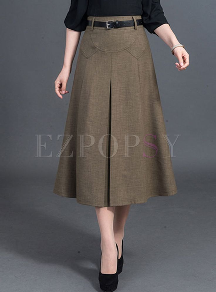 Casual A-line Patchwork Pleated Skirt