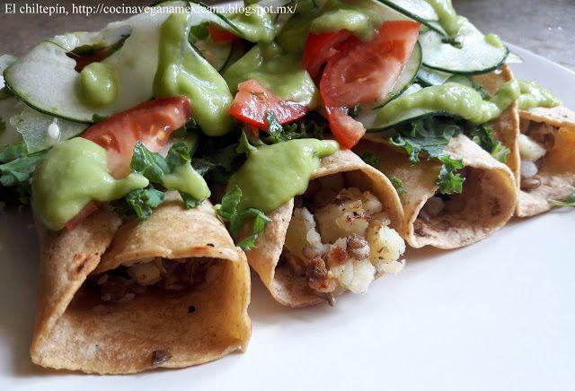 Mexican flautas w/potato &  lentils : Flautas de papa y lentejas