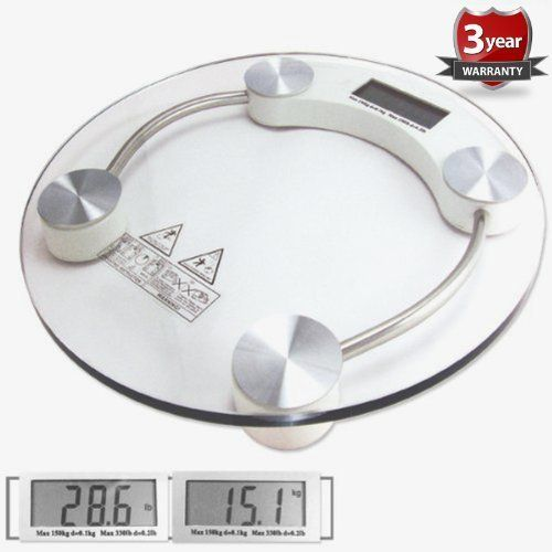 RoyalMed High Accuracy Digital Round Tempered Glass Bathroom Scale with Large Cool BIG Display and 'Smart Step-On' Technology NEWEST VERSION ** Click image for more details.