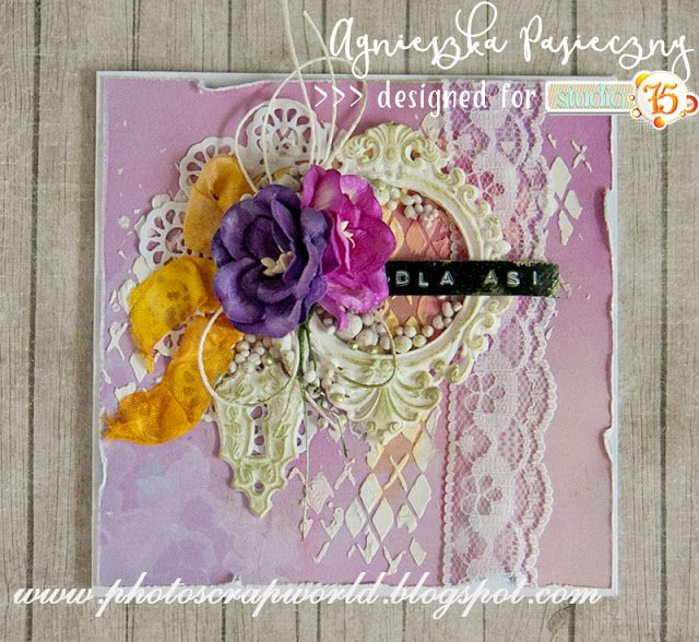 Lovely card in lavender shades made with Lavender Morning collection. cardmaking, scrapbooking, handmade cards, studio 75