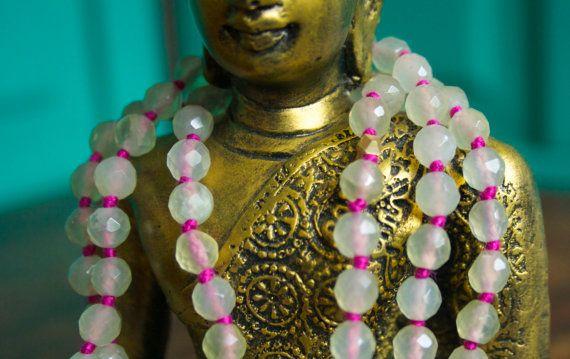 Prehnite Yoga 108 Mala Meditation Prayer Japa Mala Beads Green Pink And Brass Yoga Jewelry Bhakti Devotional Spiritual Necklace on Etsy, $73.00