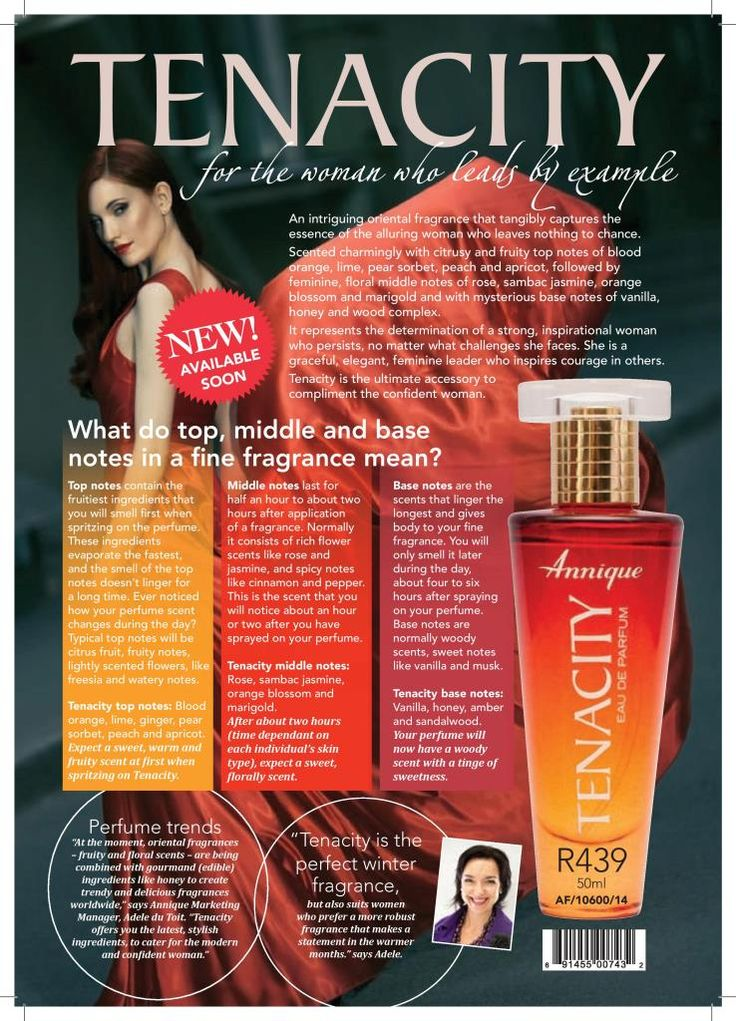 Are you a woman who leads by example? Then our new Tenecity fragrance is perfect for you!