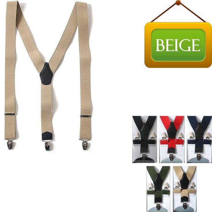 Faux Leather Elastic Suspenders Wide Suit Office Adjustable Clip-On Braces BEIGE #springsummerfallwinter