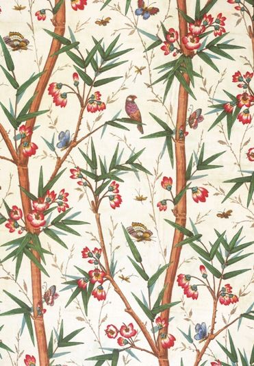 Bamboo & Birds (19th century) Greeting card from the Warner Textile Archive