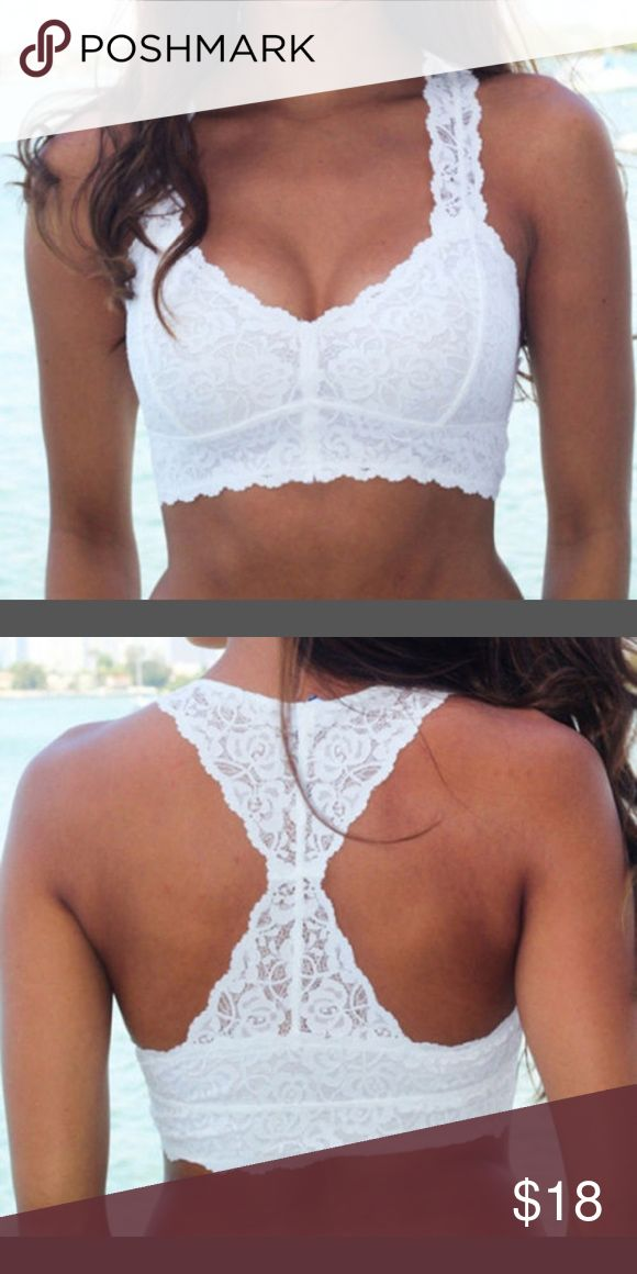 New white lace bralette under 24 Super cute,  razer back padded for more support and the pads are removable for easy washing,  halter cut.  One size fits small to large. Intimates & Sleepwear Bras