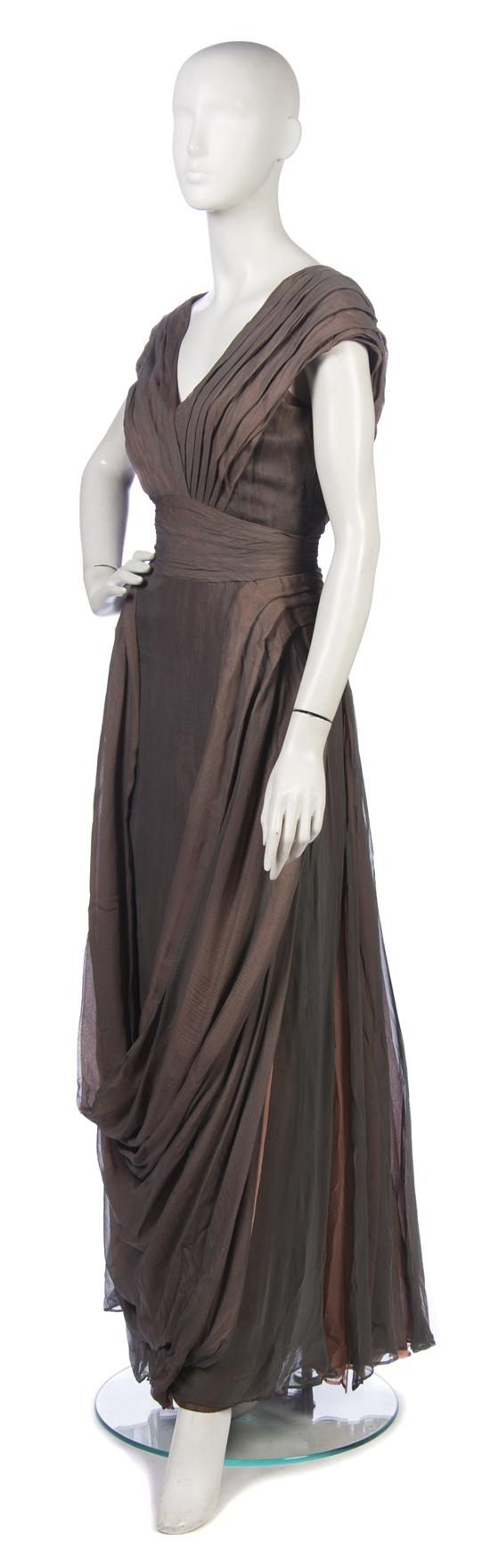 ~1930s Jeanne Paquin Gray and Coral Chiffon Evening Gown~