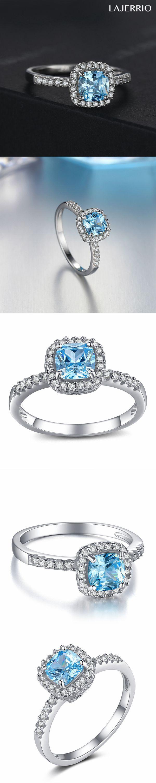 Lajerrio Jewelry Asscher Cut Aquamarine S925 Engagement Ring