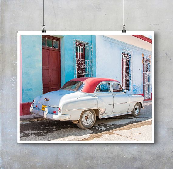 Cuban Travel Photography - vintage American car, blue, red, pink, Trinidad 10x8 11x14 20x30 mad dad boyfriend fine art photography wall art
