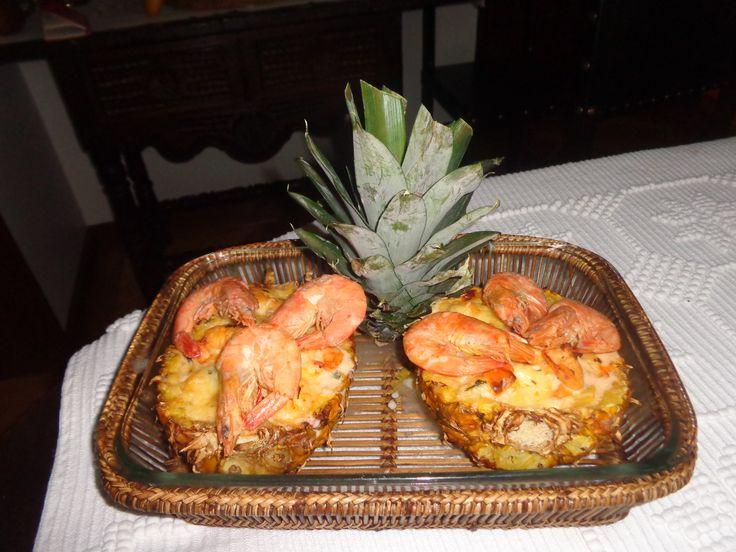 2016 Jantar de anos da Bia. Camarão com ananás gratinado. Um sucesso!