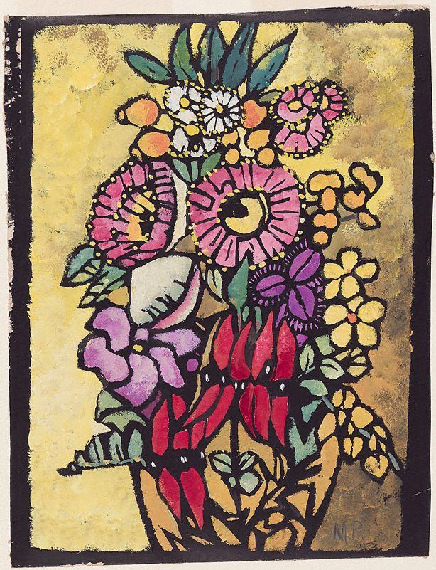 Native flowers, (1949) by Margaret Preston: colour stencil, gouache printed on thin black card