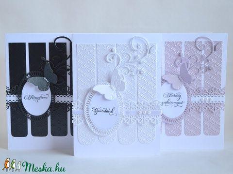 Képeslap elegáns esküvő évforduló születésnap névnap részvét csak úgy pillangó fehér fekete lila perszonalizálható (kreativpercek) - Meska.hu