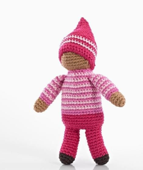 Rose the pixie's squishy little arms and legs are perfect for small hands to grip and play with. This crocheted toy was handmade by women in Bangladesh, so slig