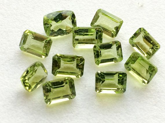4 Pcs Peridot Emerald Cut Stone Lot Faceted by gemsforjewels