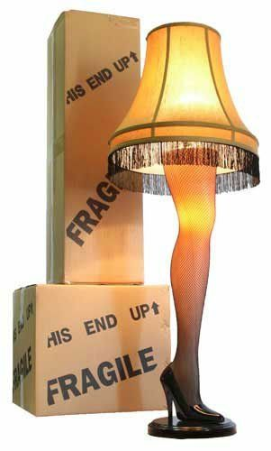 """A Christmas Story Full Size 45"""" Leg Lamp by A Christmas Story House. $149.99. This beautiful 45-inch Full Size Leg Lamp has the authentic look of the leg lamp featured in A Christmas Story. This Leg Lamp has a sleek attractive curve and design to the leg. It also show cases a golden gallery shade with black fringe, a sexy fishnet stocking, and an elegant stiletto heel. Sure to be the center piece of any front room window. The leg and socket under the lampshade lig..."""