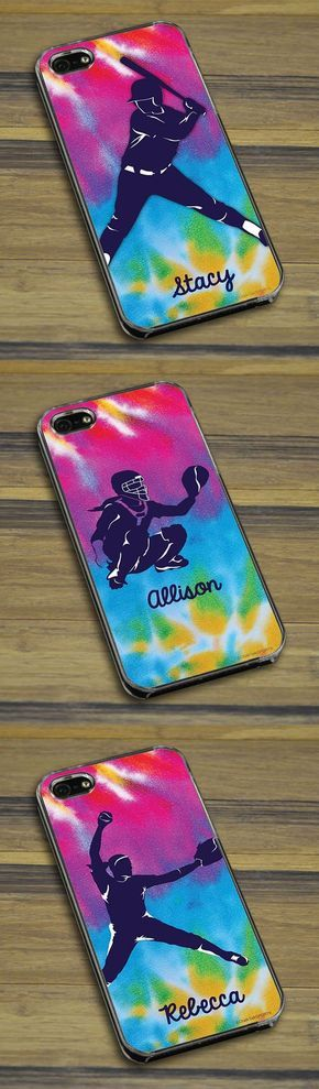 Our tie dye softball cell phone cases are sure to be a game winner! We offer our exclusive tie dye background with softball batter, catcher, and pitcher silhouettes! Makes a great softball gift for any player - customize it with their name and their position!